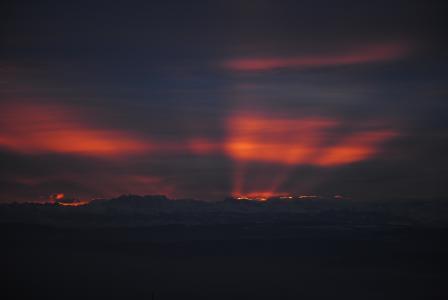 山脉, morgenrot, 云彩, 阿尔卑斯山, 日出, 消防, 天空