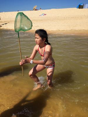 登陆网, 只是, 海滩, 鱼, 抓到, 儿童, 河