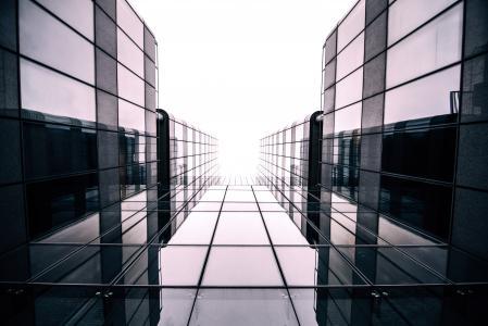 建筑, 建设, 玻璃, 低角度拍摄, 观点, 反思, 办公建筑外观