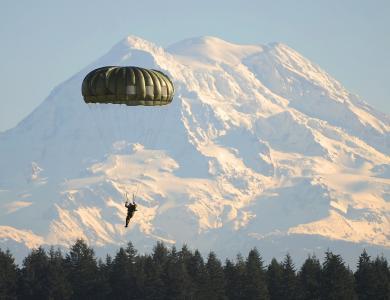 降落伞, 伞兵, 跳伞者, 土地, 路易斯堡, 雷尼尔山, 跳伞