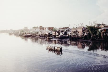 小船, 帆船, 海, 水, 房屋, 社区