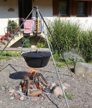 壁炉, 火焰, 余烬, 木材, 壶, 盖子, 装载