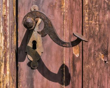 句柄, 生锈, 老, 锁, 锈, 铁, 入口