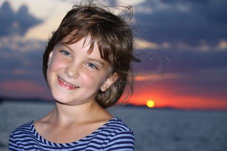 海, adria, 女孩, 日落, 克罗地亚, 亚德里亚海, 海滩