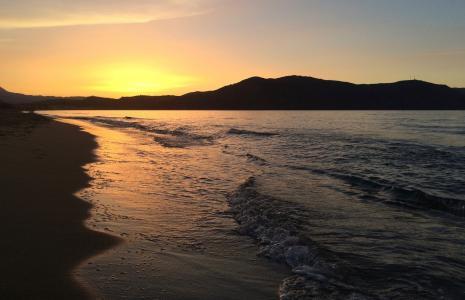 克里特岛, 日落, 海, 希腊, 晚上