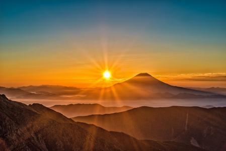 太阳, 富士山, 日本, 景观, 南阿尔卑斯山, 10 月, 日落