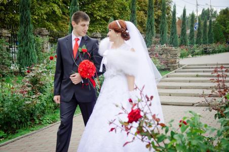 婚礼, 吻, 新郎, 新娘, 漫步, 我们结婚了, 穿衣服