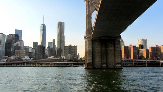 布鲁克林大桥, 纽约城, 悬索桥, 东河, 曼哈顿, 桥梁, 纽约