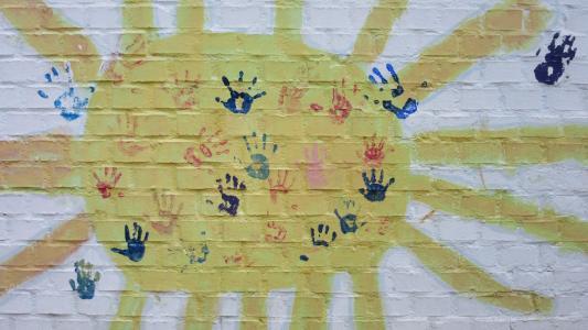 太阳, 墙上, 手, 孩子的手, 手印, 新光, 打印
