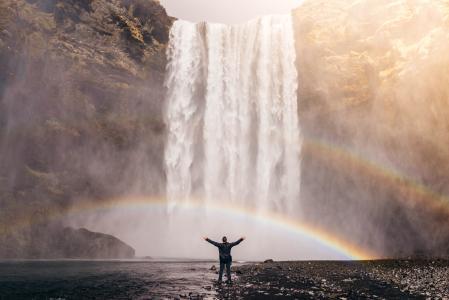瀑布, 彩虹, 喷雾, 水, 流量, 级联, 人