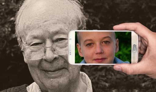 青年, 年龄, 智能手机, 脸上, 男子, 老, 男孩