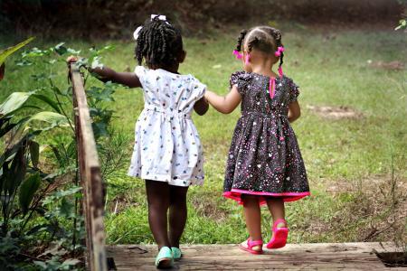 女孩, 儿童, 孩子们, 朋友, 年轻, 快乐, 童年