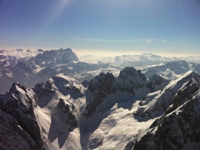 南蒂罗尔, 白云岩, 雪, 山脉, 天空, 太阳