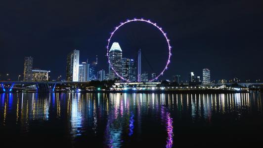 新加坡, 摩天轮, 大轮子, 河, 天际线, 建设, 水