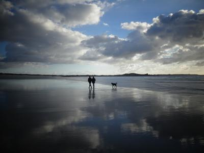 布列塔尼, 海滩, 海, 太阳, 云彩, 镜像, 观点