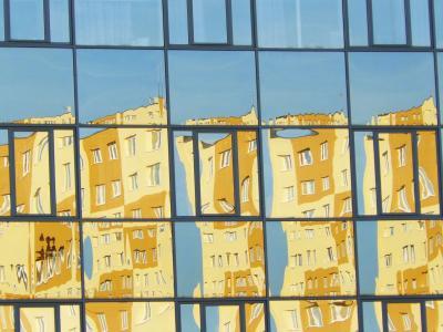 windows, 反思, 玻璃, 建设, 建筑, 设计, 城市