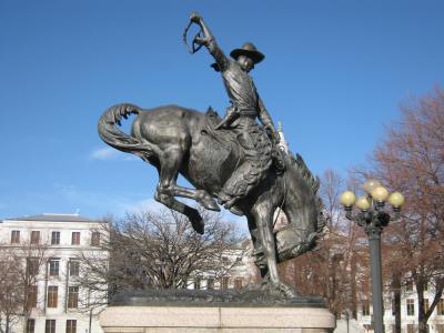 丹佛, 科罗拉多州, 牛仔, 雕像, 城市, 市中心, 城市