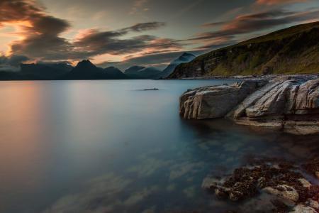 日落, 黄昏, 最后的光芒, 湖, 海岸, 水, 海