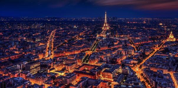 巴黎, 法国, 埃菲尔铁塔, 晚上, 夜巴黎, 城市, 特大城市