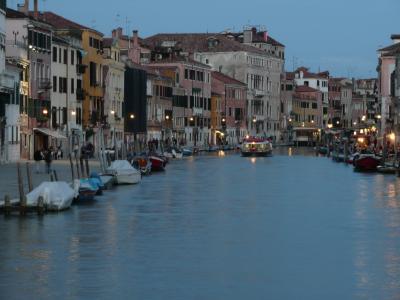 黄昏, 运河, 小船, 水, 灯, 威尼斯, 河