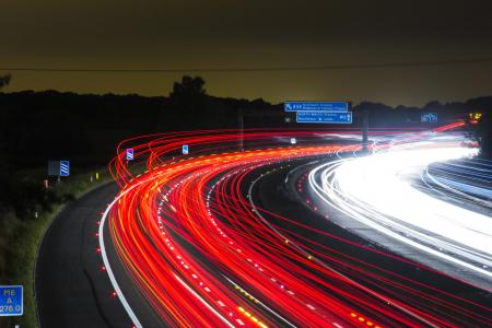 交通, 公路, 灯, 晚上, 道路, 长时间曝光, 光
