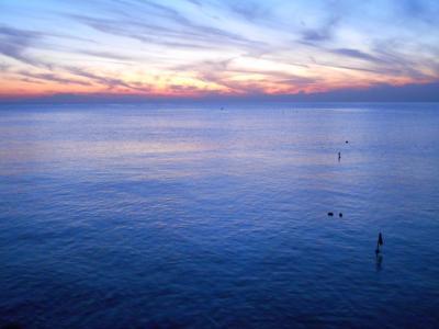 天空, 海, 暮光之城, 日落, 一个安静