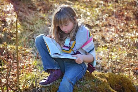人类, 儿童, 女孩, 坐, 金发女郎, 长长的头发, 书