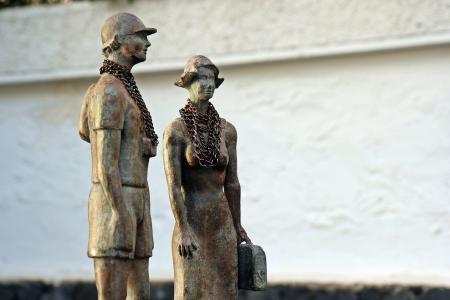 雕塑, 小雕像, 的形式, 金属, 特内里费岛, 加那利群岛, 链