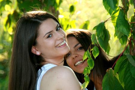 女孩, 友谊, 爱, 美, 微笑