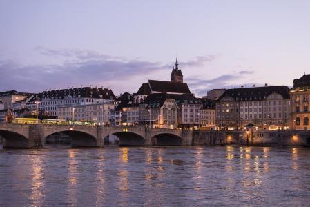 莱茵河, 中桥, 具有里程碑意义, 巴塞尔, 瑞士, 欧洲, 老