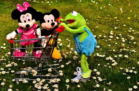 克米特, 青蛙, 米老鼠, 毛绒玩具, 购物车, 玩具, 戏剧