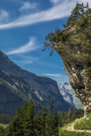 岩石, 山脉, 线索, 树木, 徒步旅行, 湖 oeschinen, 瑞士