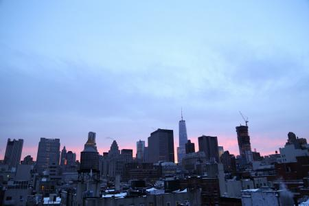 纽约, 大苹果, 一个世界贸易中心, 1wtc, 夜幕降临, 黄昏, 城市