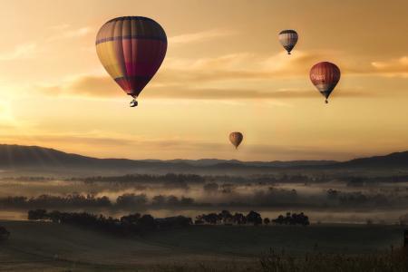 热空气, 气球, 山谷, 天空, 黄色, 浮动, 热气球