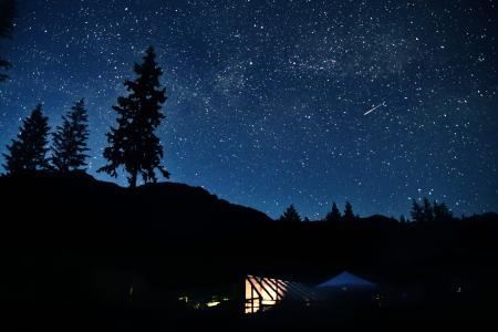 剪影, 摄影, nighttiem, 天空, 星级, 帐篷, 晚上