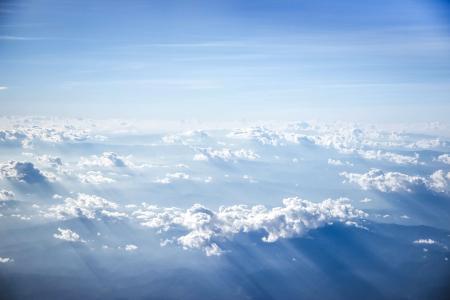 在世界上的云朵, 天空, 云计算, 云景, 蓝色, 白色, 蓬松