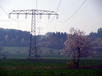 当前, 电力, 上部的线, 技术, 电线杆, 能源, 加强