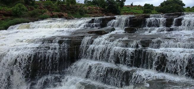 栅, 瀑布, godachinamalki 瀑布, 水落, markandeya, 河, 卡纳塔克