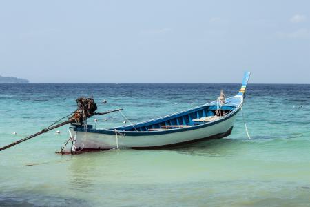 海, 海岸, 小船, 蓝色, 天空, 海滩