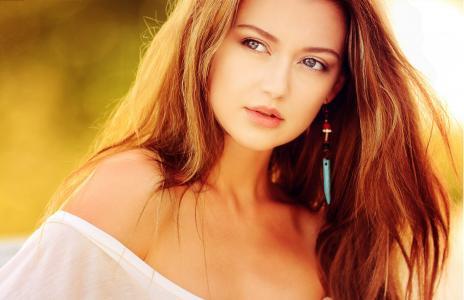 美, 女人, 肖像, 脸上, 头发, 风, 女性气质