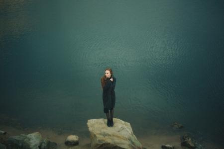 女性, 岩石, 独奏, 水, 女人