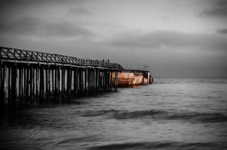 摄影, 码头, 端口, 附近的, beack, 海洋, 海