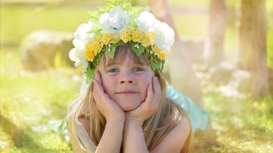 人类, 儿童, 女孩, 脸上, 头饰, 金发女郎, 花童