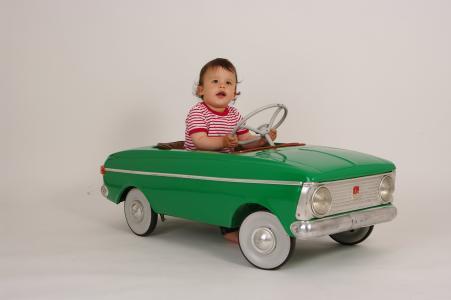 小型驱动程序, 儿童踏板车, 复古车, 绿色驾驶室, 儿童, 小, 可爱