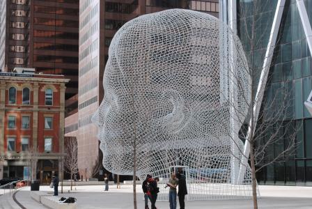 加拿大, 卡尔加里, 头, 街头艺术, 城市场景, 建筑, 街道