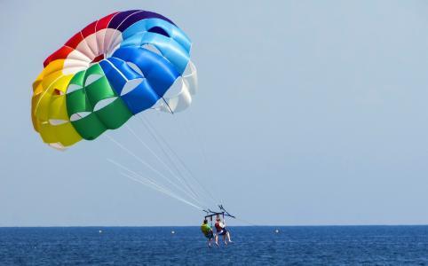 降落伞, 滑翔伞, 颜色, 彩虹颜色, 气球, 天空, 体育
