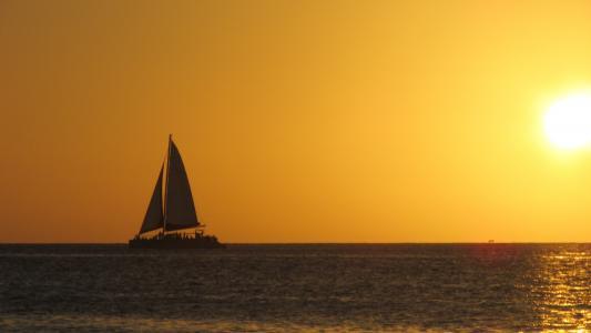 日落, 加勒比海, 海滩, 现场, 橙色, 太阳, 帆船