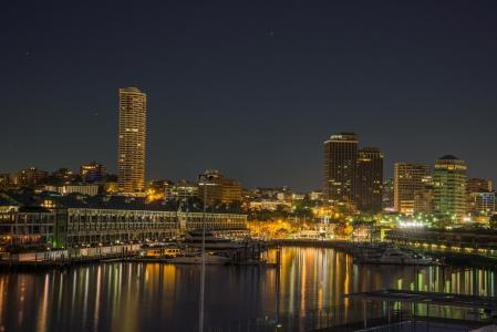 悉尼, 澳大利亚, 悉尼港, 黎明, 天际线, 反思, 建筑