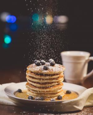蓝莓, 模糊, 散景, 早餐, 特写, 咖啡, 美味
