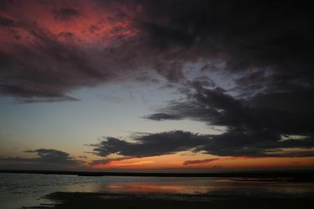 云彩, 晚上, 日落, 黑暗的天空, 天空, 夜景, 海景